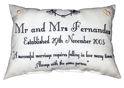 Mr & Mrs Quote (doves and rings graphics) Cushion