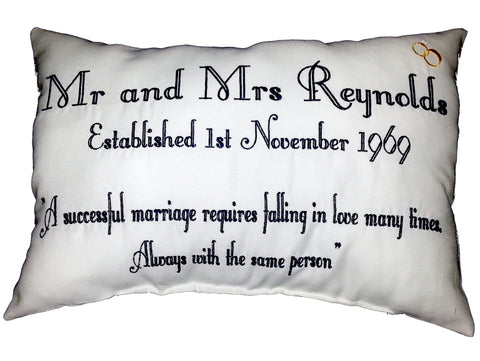 Mr & Mrs Quote (rings graphic only) Cushion