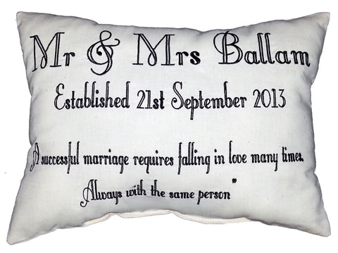 Mr & Mrs Quote (text only) Cushion