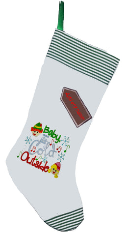 Baby It's Cold Outside Christmas Elf Stocking