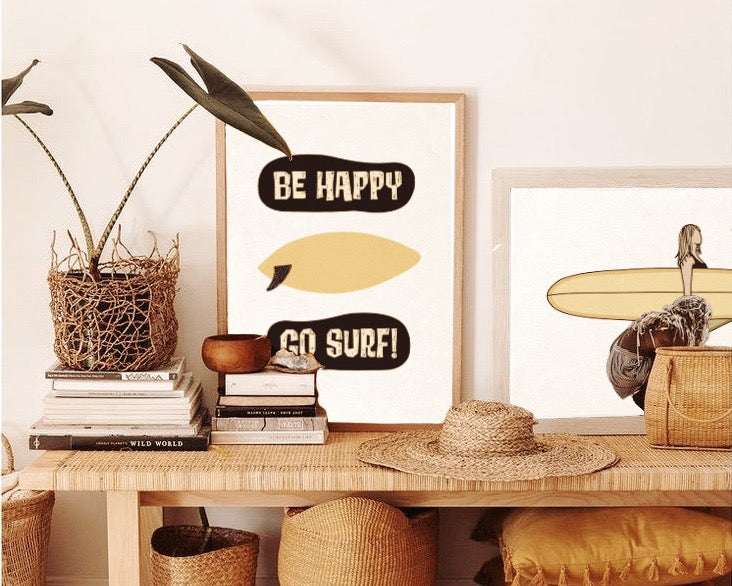 Be happy go surf print