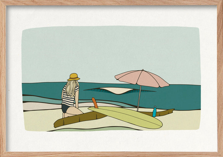 Beach days surfer singlefin surf fine art print.