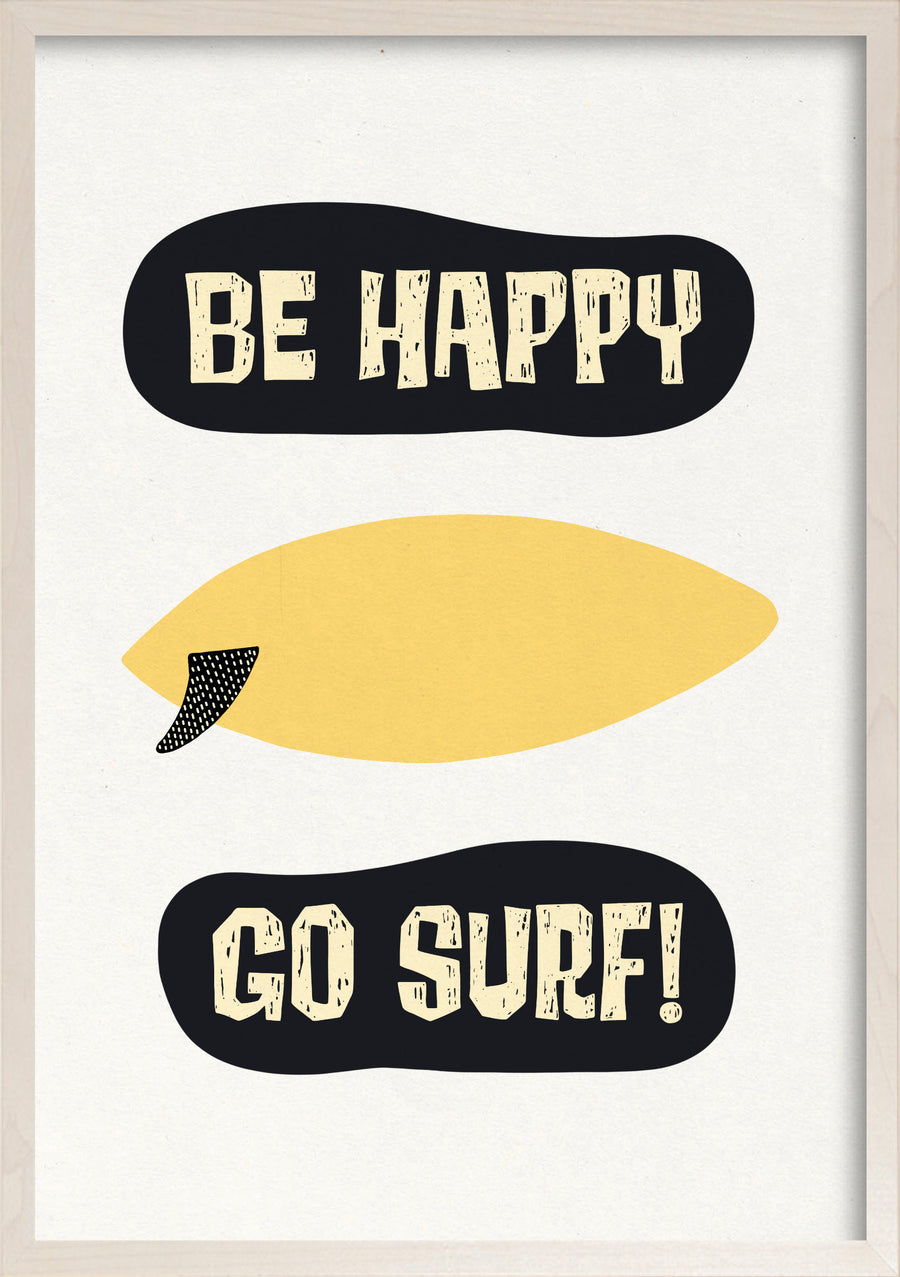 Be happy to surf lemons fine art print in a whitewashed maple frame