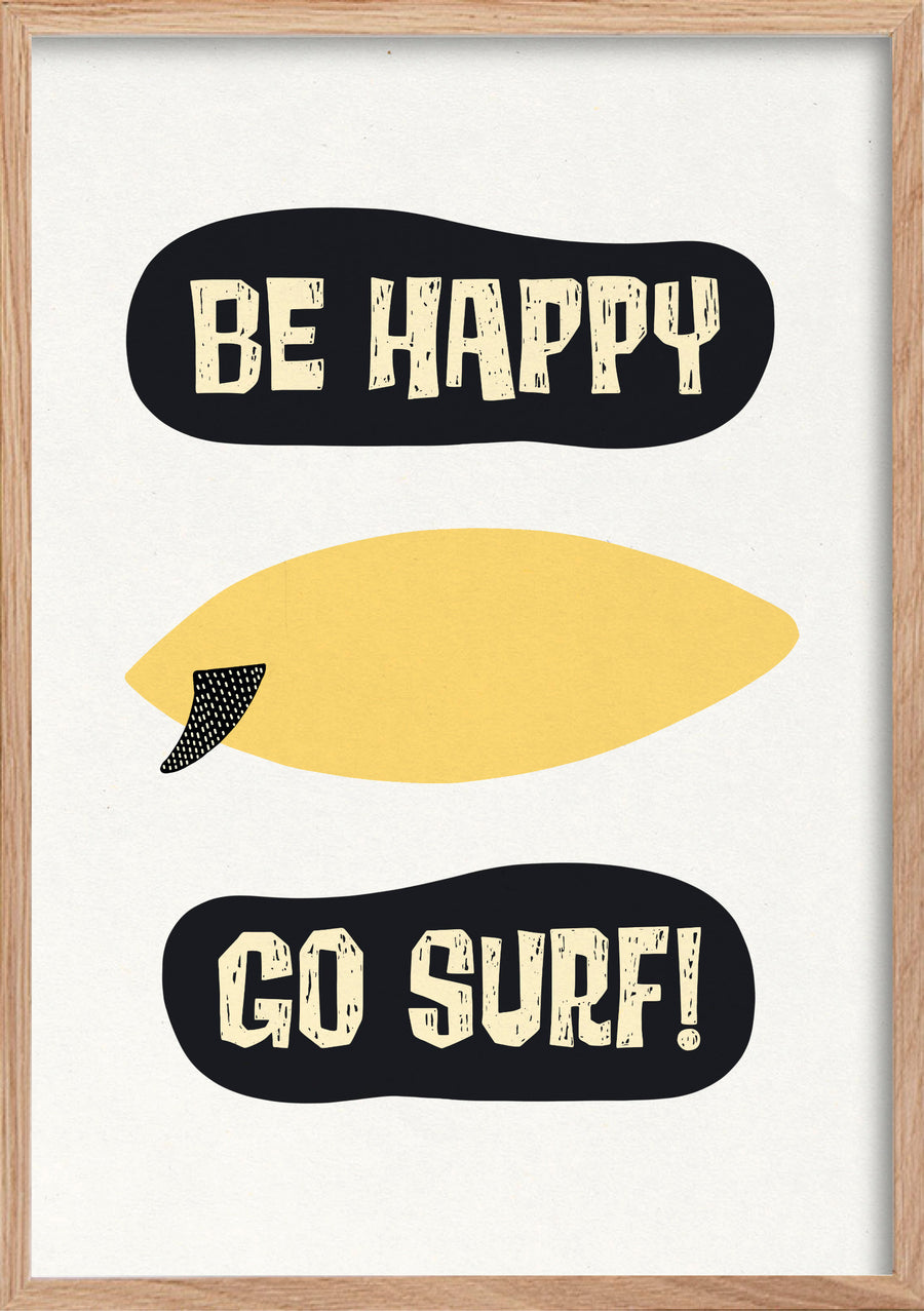 Be happy to surf lemons fine art print in a natural oak frame