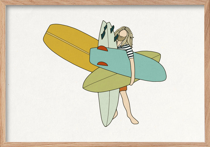 Big quiver surfer fine art print in natural oak frame