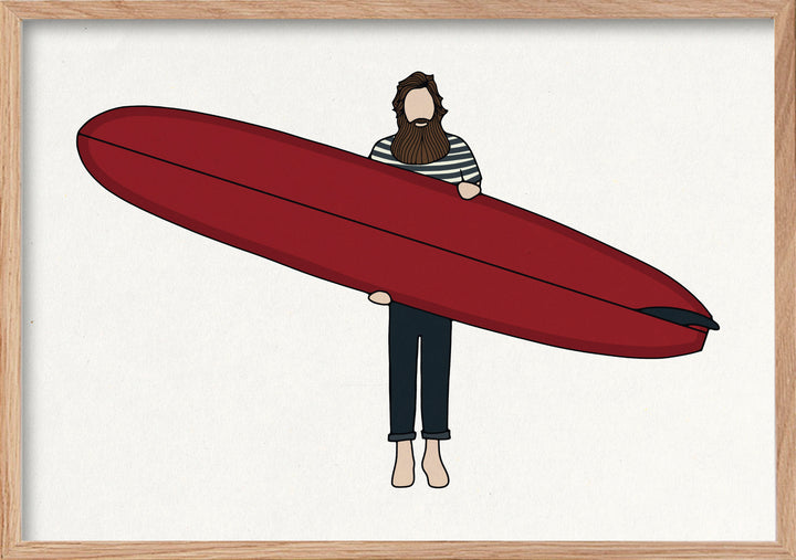 Big red surfer fine art print in natural oak frame