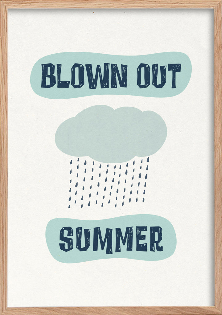 Blown out summer rain fine art print in a natural oak frame