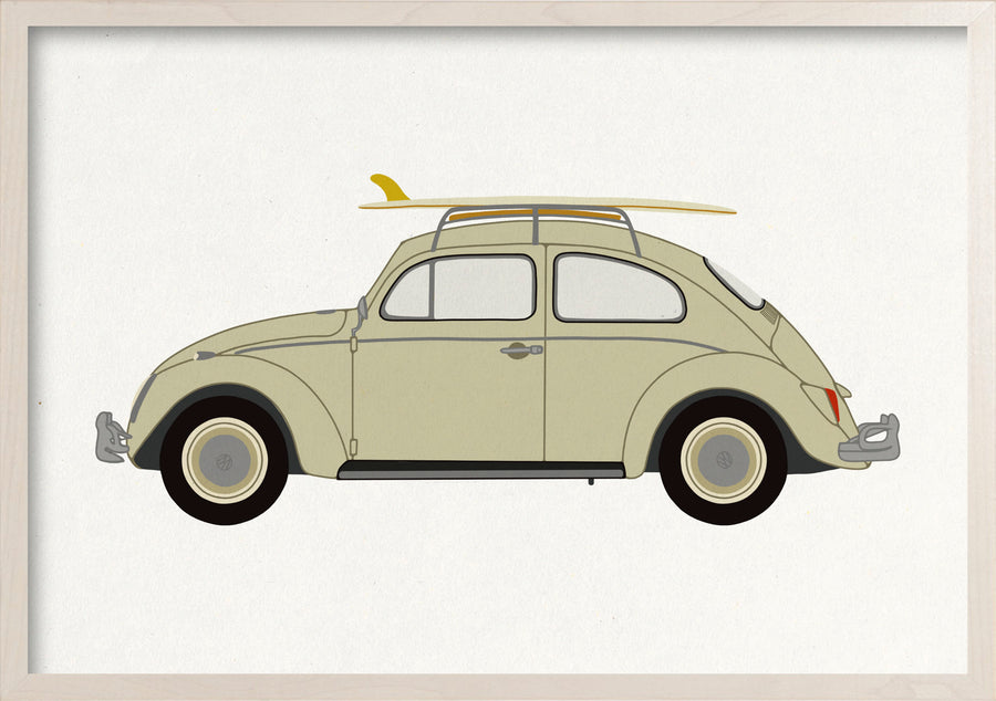 VW Beetle Bug fine art print in whitewashed maple frame