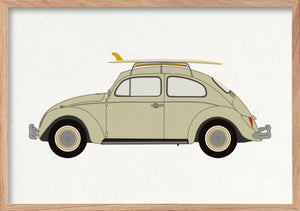 VW Beetle Bug fine art print in natural oak frame