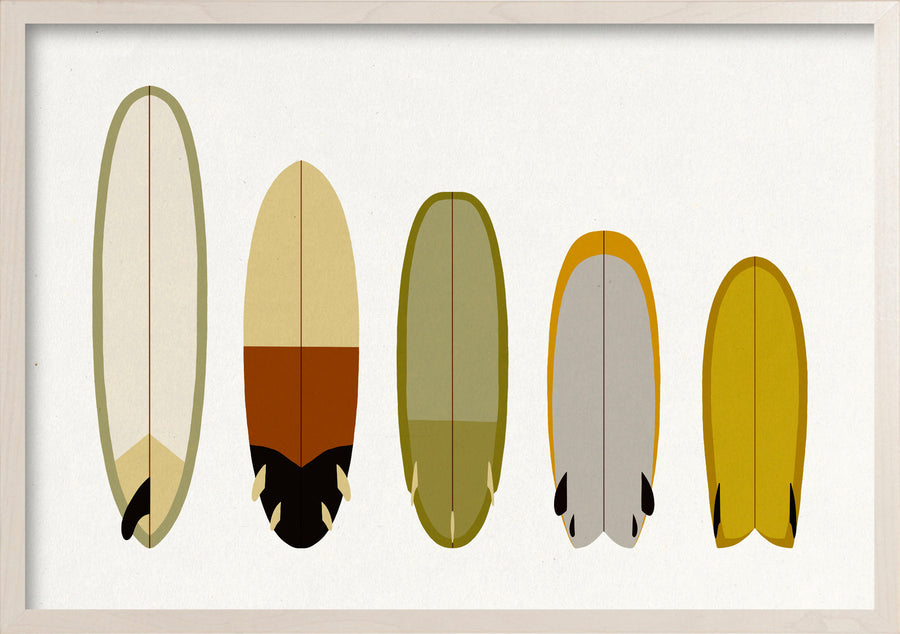 Earth quiver surfboards fine art print in whitewashed maple frame