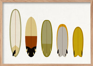 Earth quiver surfboards fine art print in natural oak frame