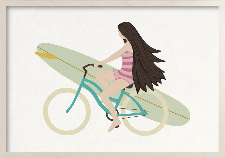 Happy life surfer girl on a bike fine art print in a whitewashed maple frame