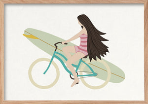 Happy life surfer girl on a bike fine art print in a natural oak frame