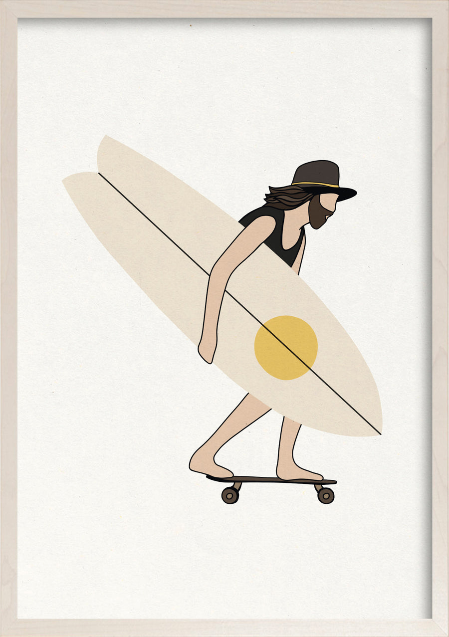 Hipster skater surfer fine art print in whitewashed maple frame