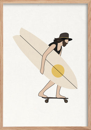 Hipster skater surfer fine art print in natural oak frame