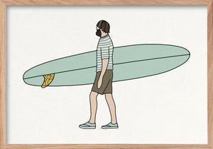 Rad rider surfer fine art print in natural oak frame