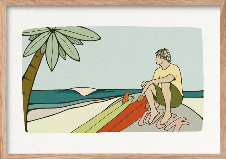 Rollers surf art print with surfer and surfboards