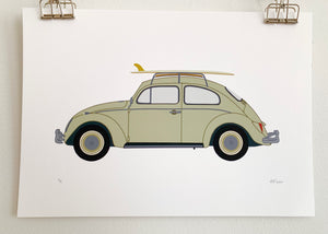 Surf Art Print - VW Beetle