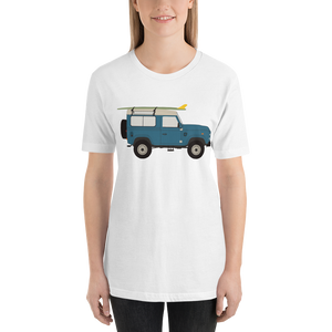 Land Rover graphic unisex T-Shirt in white on female surfer
