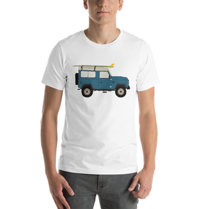 Land Rover graphic unisex T-Shirt in white on male surfer