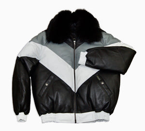 Goose Leather Bomber Jacket