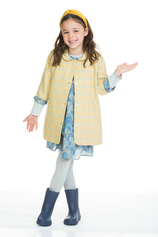 Yellow plaid tweed coat for girls