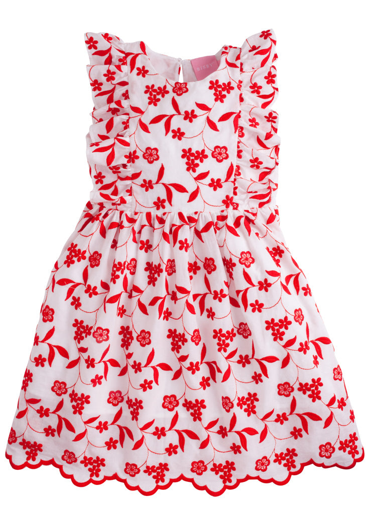 Diana Dress - Red Floral Embroidery - BISBY