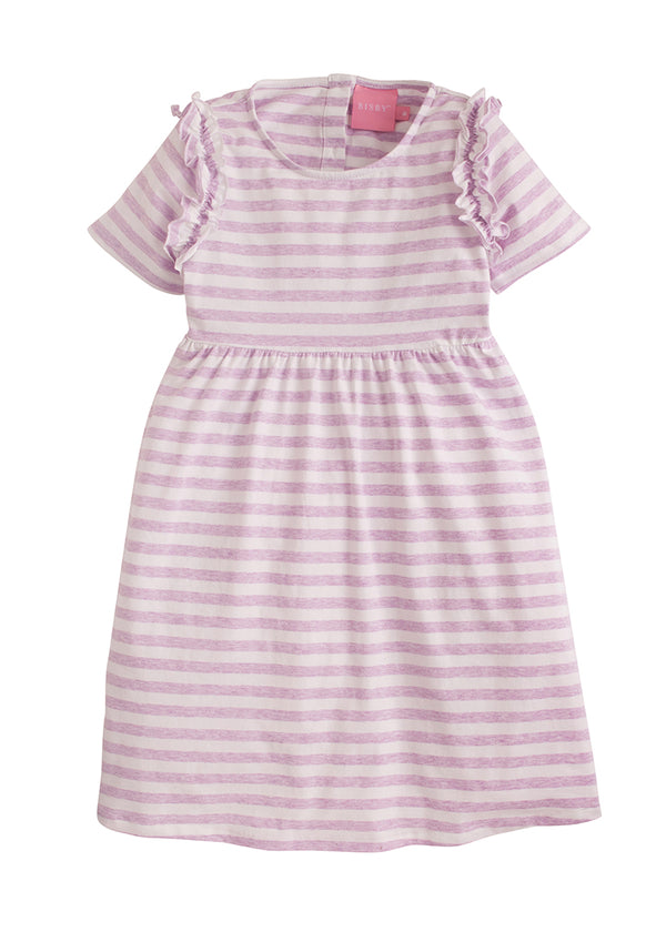 Helen Dress - Lavender Jersey Stripe - BISBY
