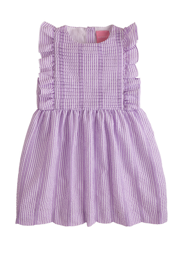 Saratoga Dress - Fancy Purple Seersucker - BISBY