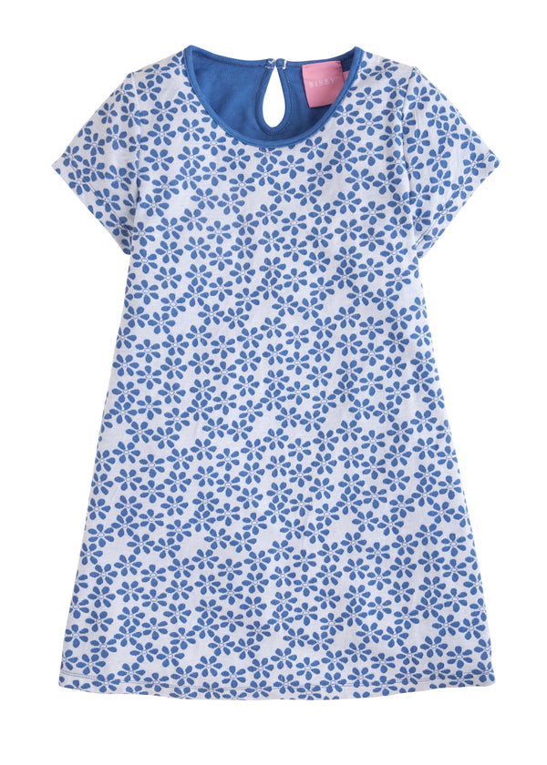 Carmen T-Shirt Dress - Blue Floral - BISBY