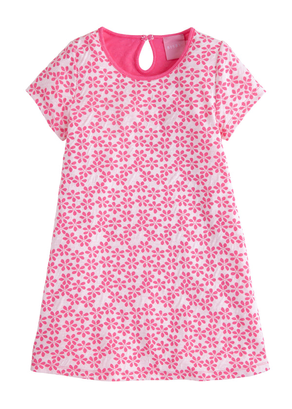 Carmen T-Shirt Dress - Hot Pink Floral - BISBY