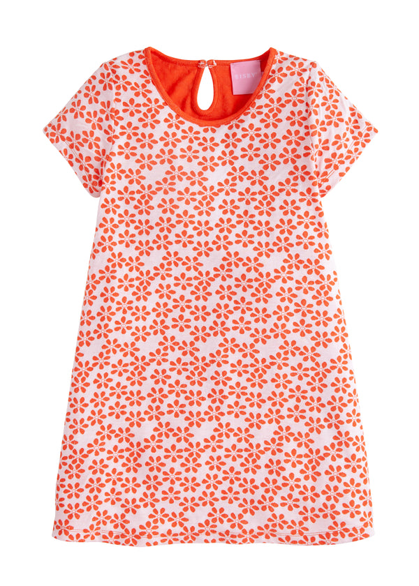 Carmen T-Shirt Dress - Orange Floral - BISBY