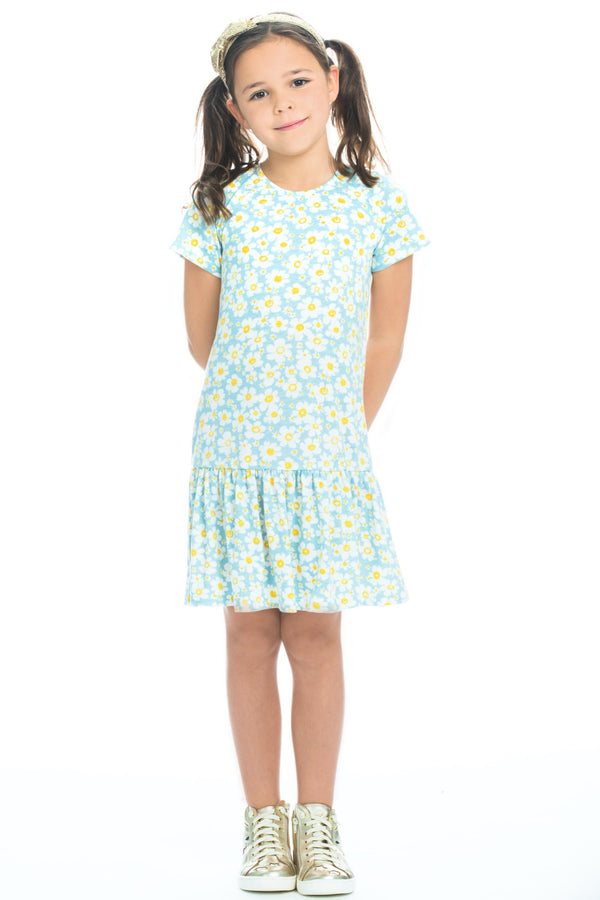 Isabel Dress - Blue Daisy Jersey - BISBY