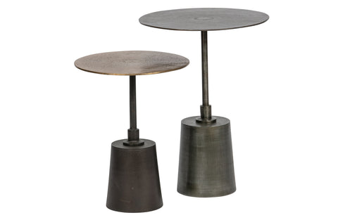 2er Set - Crush Beistelltisch Metall Antique Brass/silber