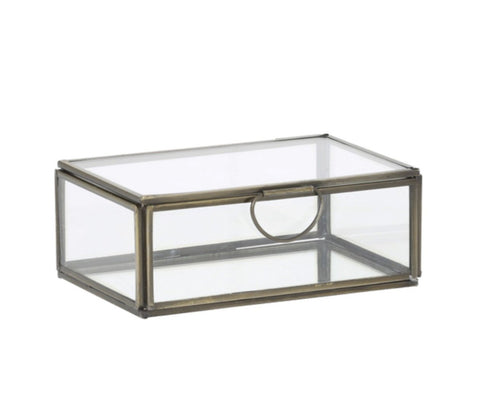 Deko Box / Schatulle ALESSINA Glas und Metall in Antik Bronze 15,5x10,5x6 cm