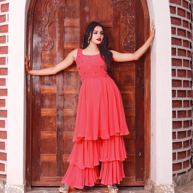 Peach georgette sharara with kurti