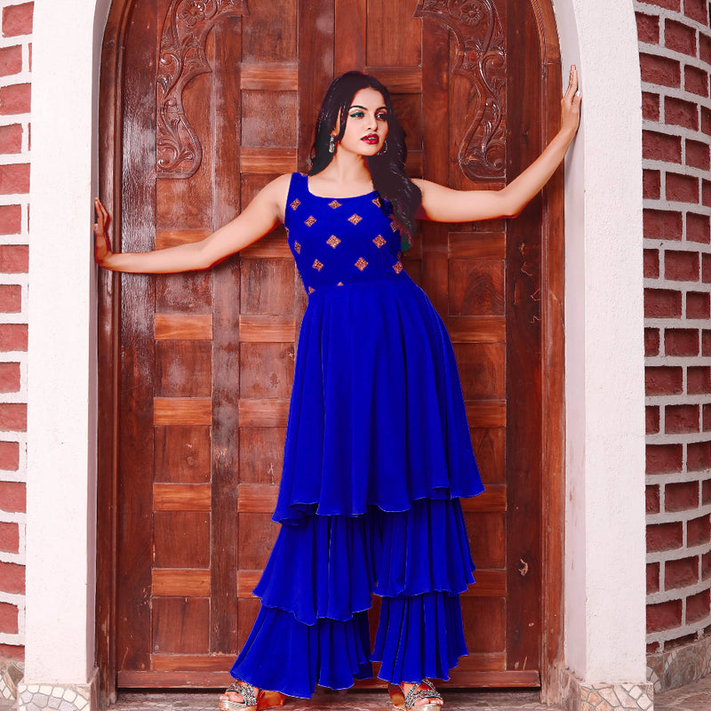 Blue georgette sharara for womens