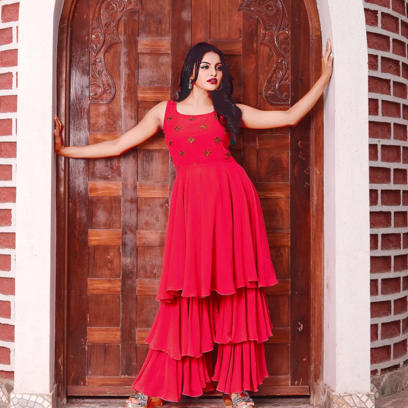 Red georgette sharara dress design