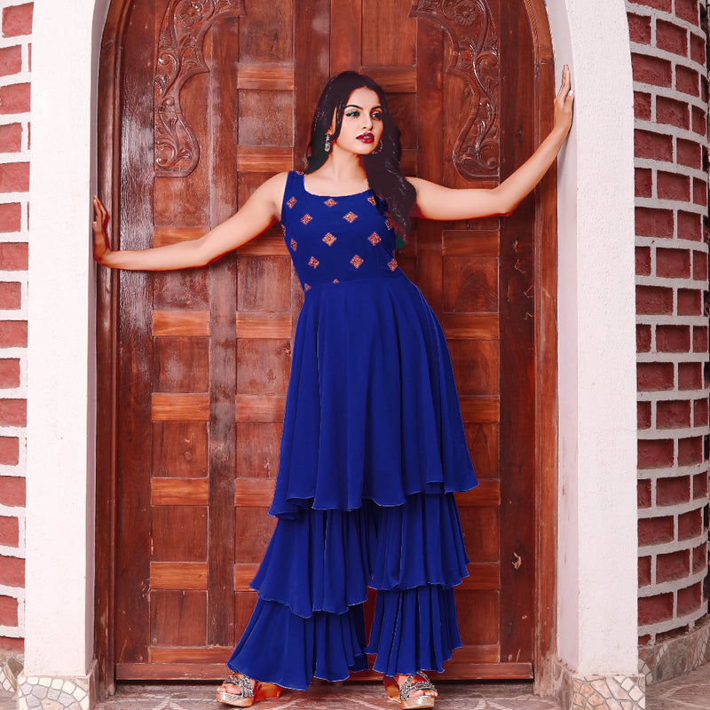 Navy blue georgette sharara kurta set