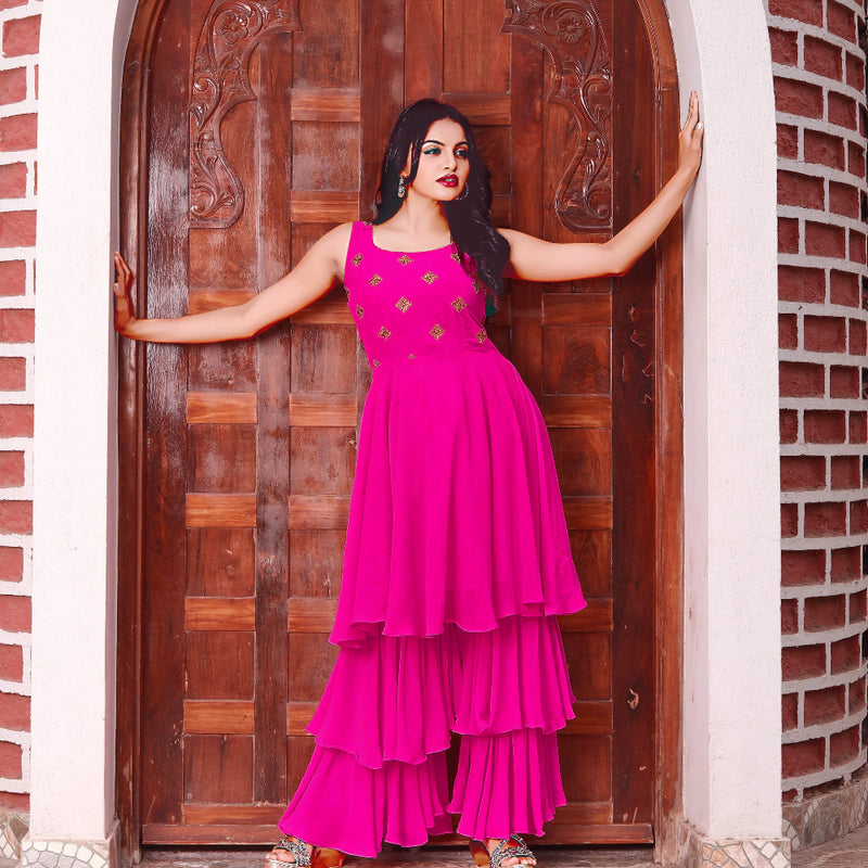 Pink georgette designer sharara with kurti