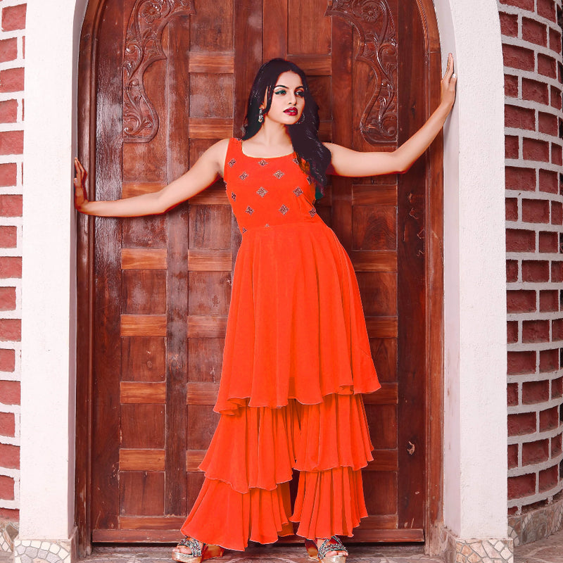 Orange georgette sharara dress design