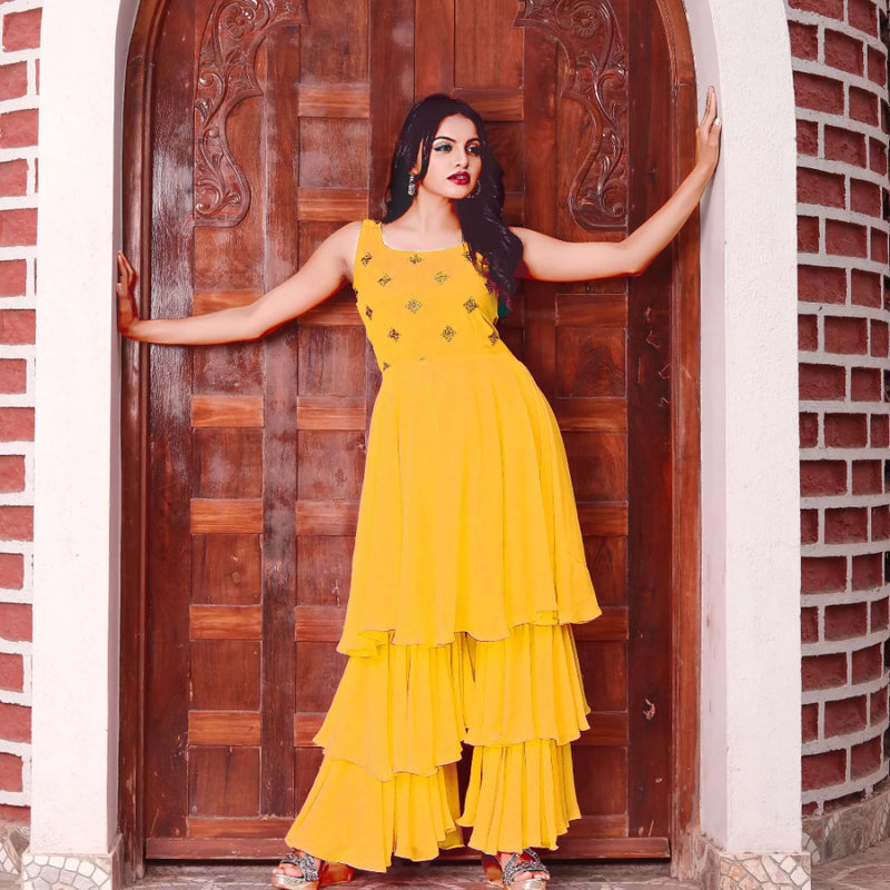 Yellow georgette sharara dress design