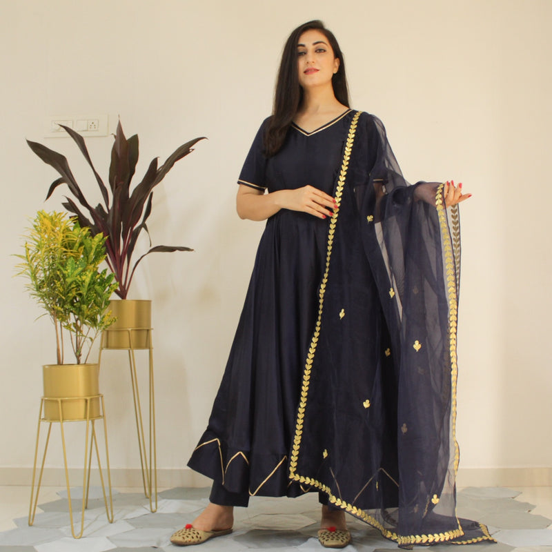 Ready to wear navy blue delight suit set