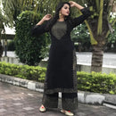 black block printed kurta plazoo