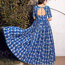 Back view of blue cotton dress
