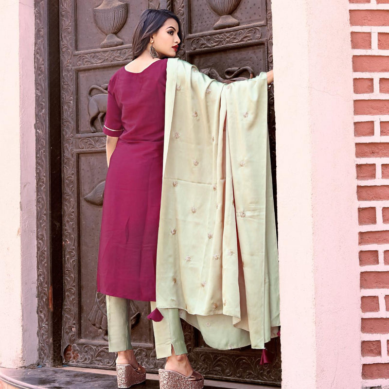 Purple malai silk dress with dupatta with tassels