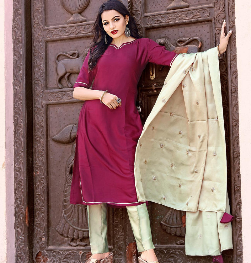 Purple dress with sea green salwar and dupatta dress