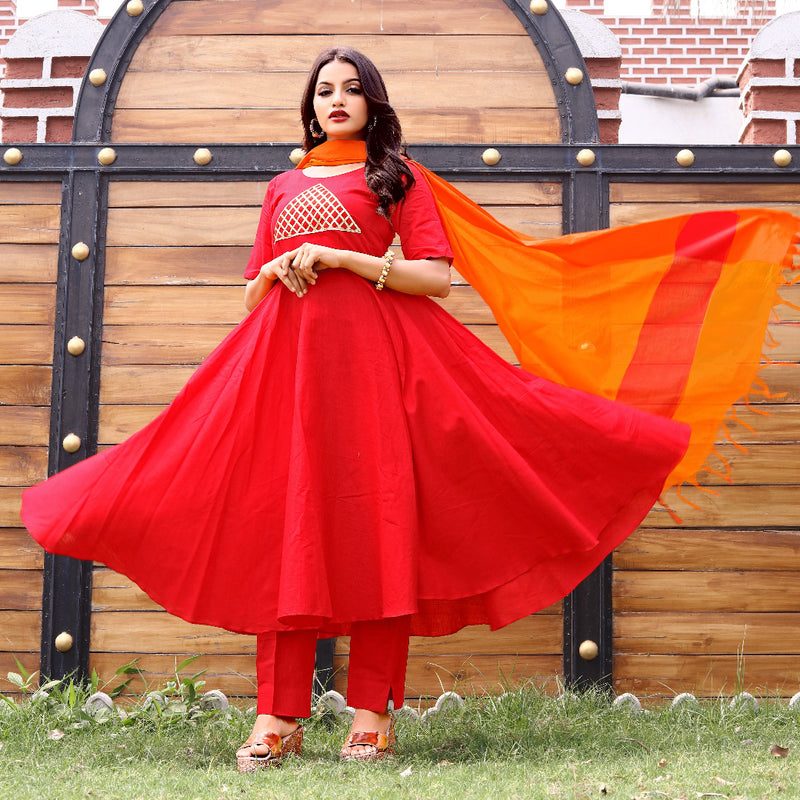 Cotton flared red and orange suit with chanderi dupatta