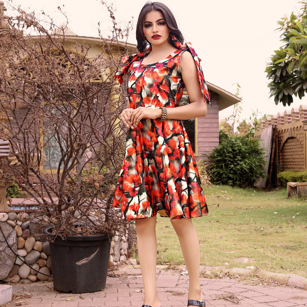 Flower printed western wear midi dress for women's