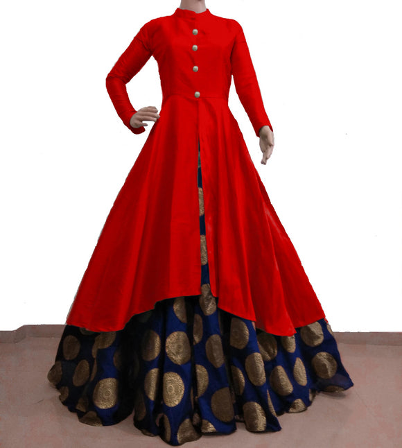 Red and navy blue banarasi flaired indowestern for women's